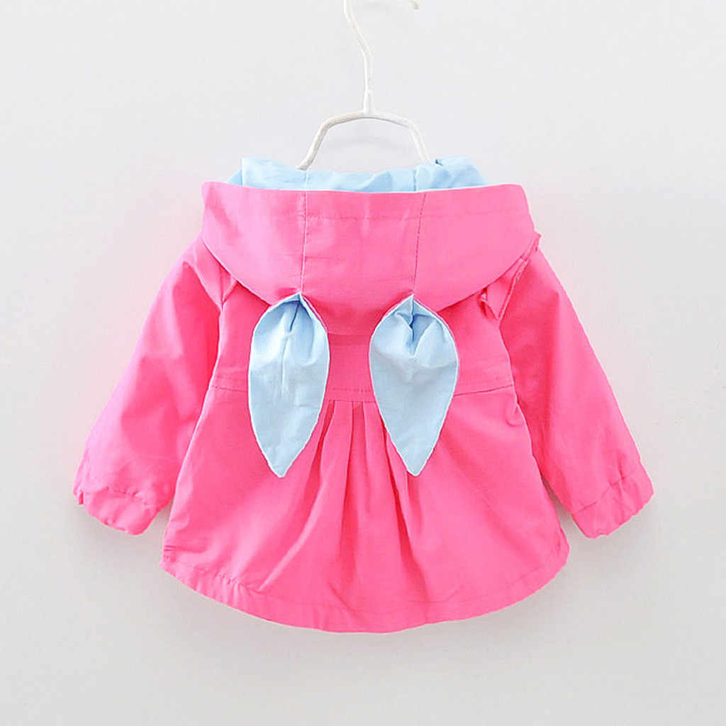אופנה 2019 jacket הילדים בנות פעוטות בייבי בנות ארנב אוזן ברדס Windproof מעיל להאריך ימים יותר בגדים מזדמנים Куртка детская @ 45