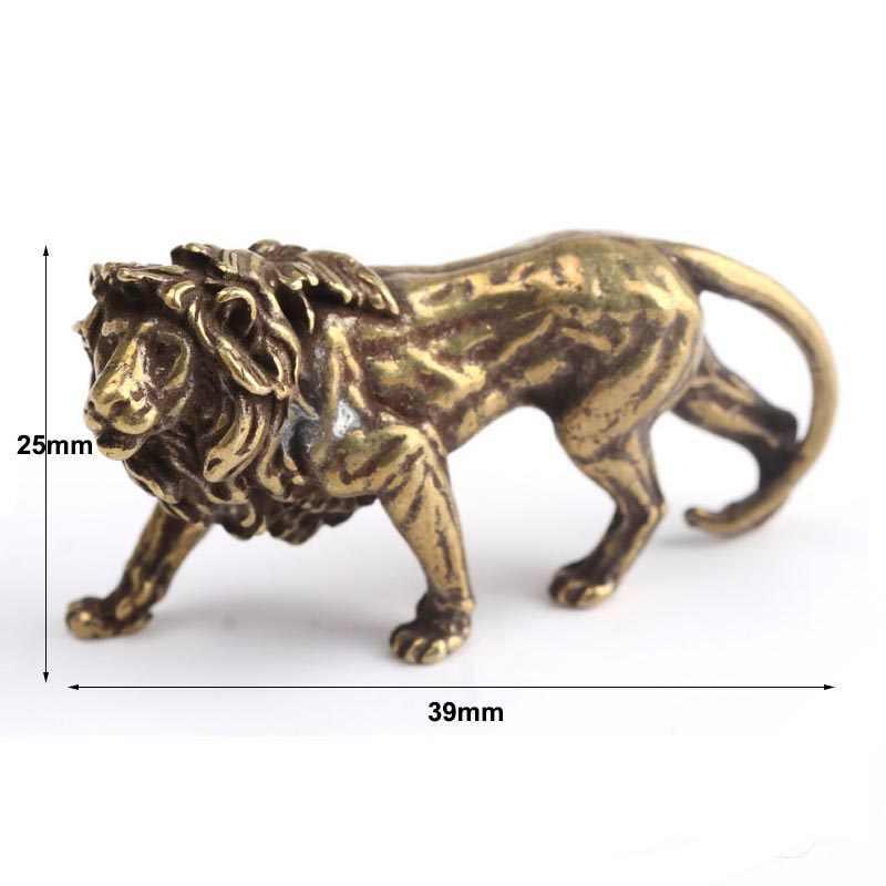 1 * Tembaga Majestic Lion King Mini Ornamen Kecil Patung Figurine Miniatur Rumah Kantor Dekorasi Toko