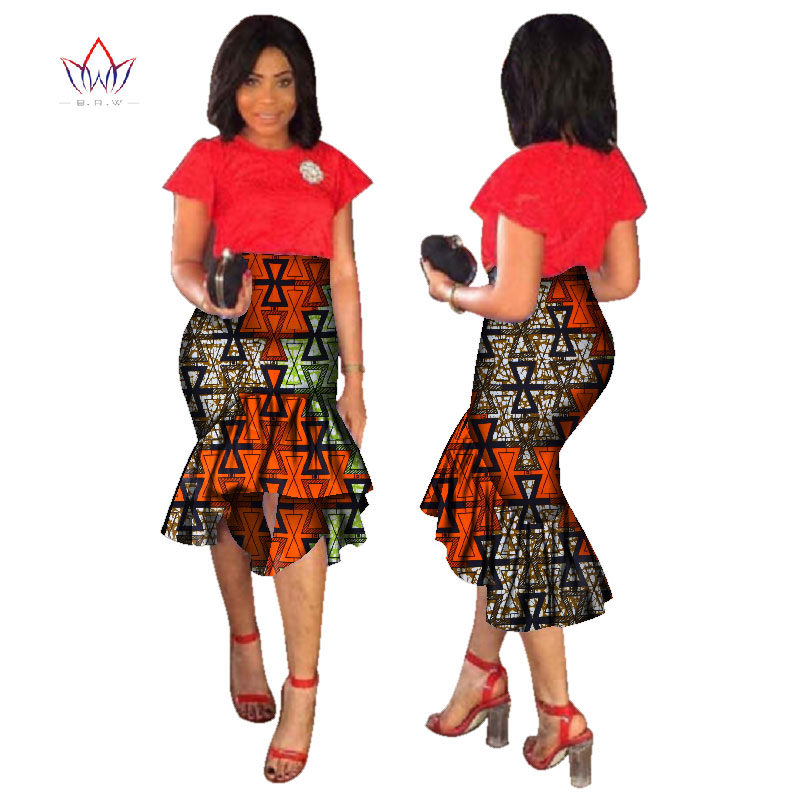 2019 sconto moda Estate parte midi gonna midi Maxi per le donne Dashiki gonna stampa africana polpaccio in cotone Bazin data panno WY1762