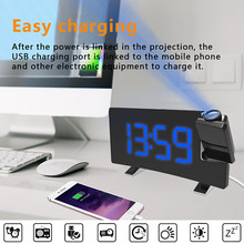 Projection Alarm Clock Digital Ceiling Display 180 Degree Projector Dimmer Radio Battery Backup Wall Time Projection(China)