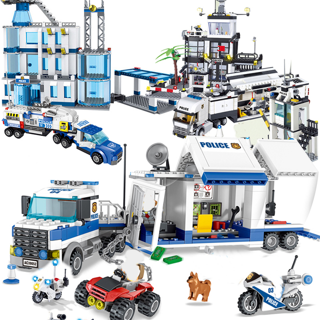 City Police Station SWAT Building Blocks Car Helicopter House Truck Creative Bricks Toys For Children Boys