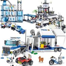Série cidade lego compatível Centro de Comando Móvel SWAT Polícia estação móvel conjuntos cadeia conjunto caminhão carro blocos de construção de brinquedos do miúdo