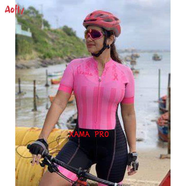 2021 xama pro feminino triathlon terno roupas ciclismo conjuntos de skinsuit macacão kits macaquinho ciclismo feminino gel maillot mujer roupas femininas com frete gratis  ciclismo feminino gel macacão triathlon 1