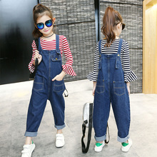 Girls Fashion Suspenders Jeans 2019 Children Autumn Striped T Shirt + Denim Overall Suits Kids Jumpsuit Clothes Set for Girls 10 стоимость