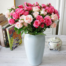 Gül buketi vazolar ev dekor için düğün gelin aksesuarları dekoratif çiçekler çelenkler karalama defteri İğne yapay bitkiler