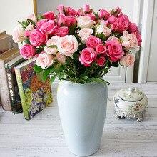 Rose bouquet vasi per la casa decorazione di cerimonia nuziale della sposa accessori decorativi fiori corone scrapbook cucito piante artificiali