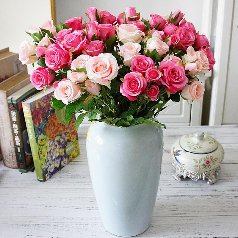 Букет роз, вазы для домашнего декора, свадебные аксессуары для невесты, декоративные цветы, венки, скрапбукинг, искусственные растения для р...