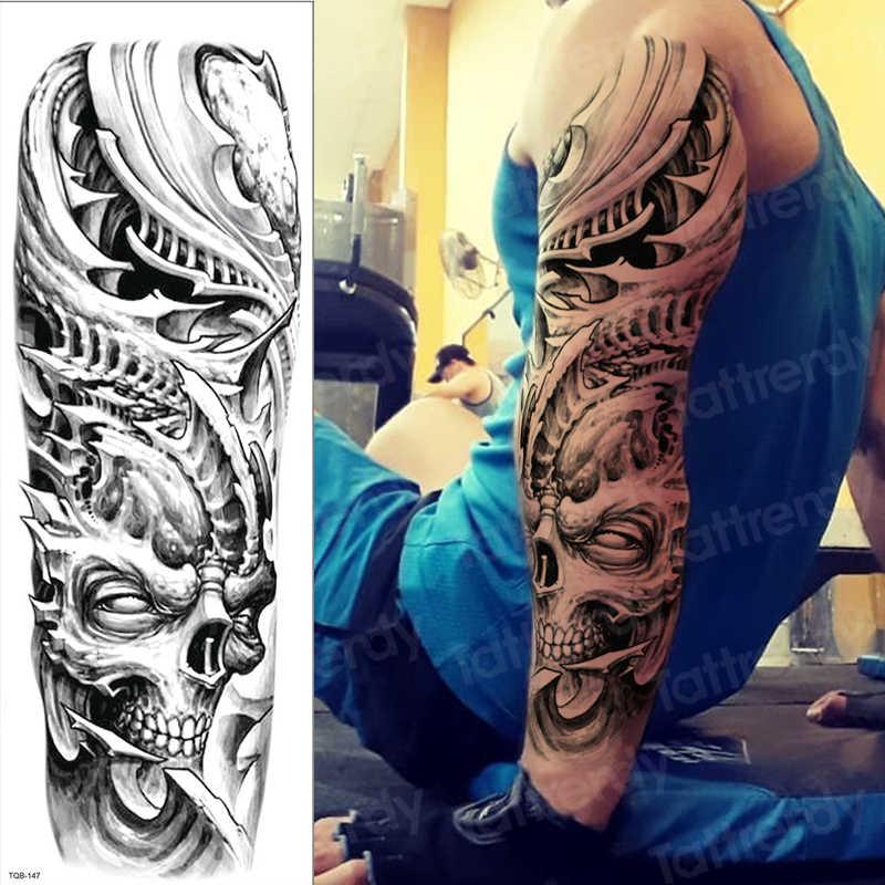 Temporary Tattoo Sticker Large Skull Sleeve Tattoo Designs For Men Shoulder Tattoos Black Full Arm Sleeve Leg Body Sticker Sheet Aliexpress