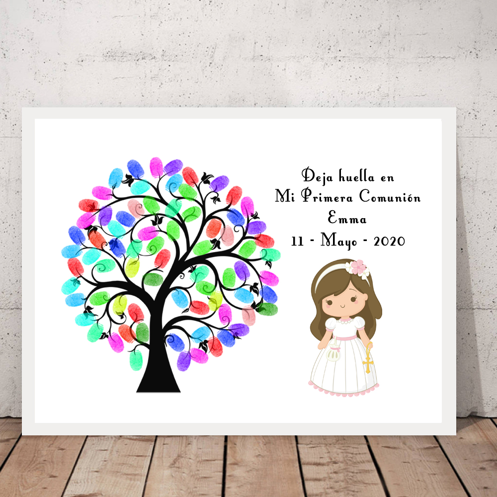 Custom Name Date Kids Baptism Fingerprint Signature Girls Boys First Holy Communion Fingerprint DIY Guestbook Signature Tree