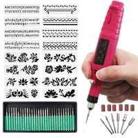 Mini Incisione Fai Da Te Kit di Strumenti, penna Incisione in miniatura Mini Fai Da Te Vibro Strumento di Incisione Kit per il Metallo di Ceramica di Vetro di Plastica di Legno Gioiello