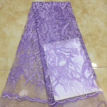 Beautiful embroidered African French net lace fabric with sequins new design for party dress