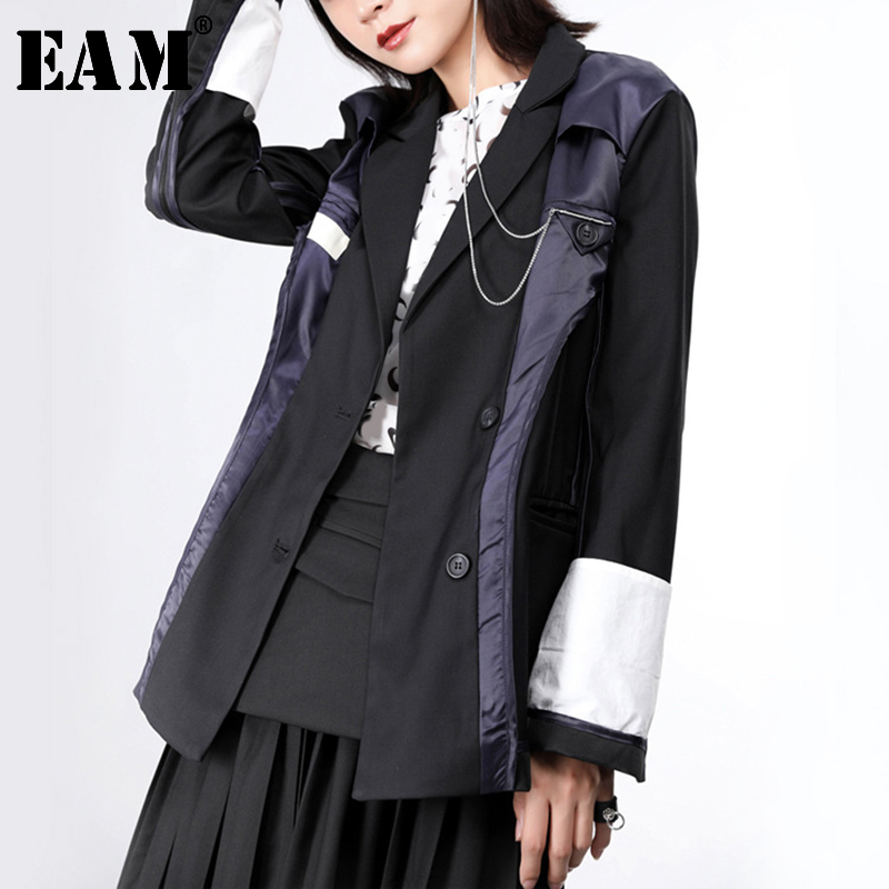 [EAM]  Women Black Contrast Color Split Blazer New Lapel Long Sleeve Loose Fit  Jacket Fashion Tide Spring Autumn 2020 JY774