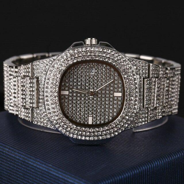Reloj de lujo para hombre, pulsera y collar, Color dorado y plateado, Hip Hop, conjunto combinado, cubano, Hip Hop 4