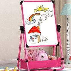 Crianças bebê placa de desenho dupla face magnética pequeno quadro negro ajustável cavalete braced agregado familiar quadro branco graffiti escrita