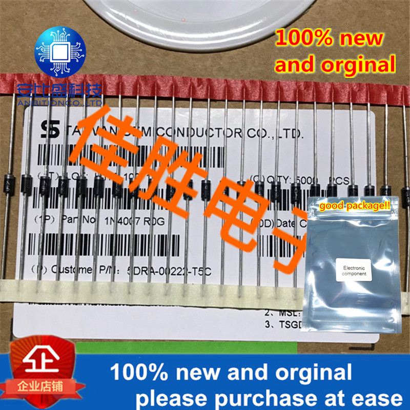 100pcs 100% New And Orginal 1A1000v Screen Printing Of High Voltage Direct Insertion Rectifier Diode 1N4007 In Stock