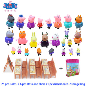 25 Piece Peppa Pig Classroom Playground Music Villa Garden Luxury Home Dining Car Scene Action Toy Figures Play Game Toy Gift(China)