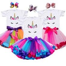 Robe Tutu d'été licorne pour filles, tenue de princesse arc-en-ciel, pour fête d'anniversaire, Costume fantaisie licorne, nouvelle collection 2020