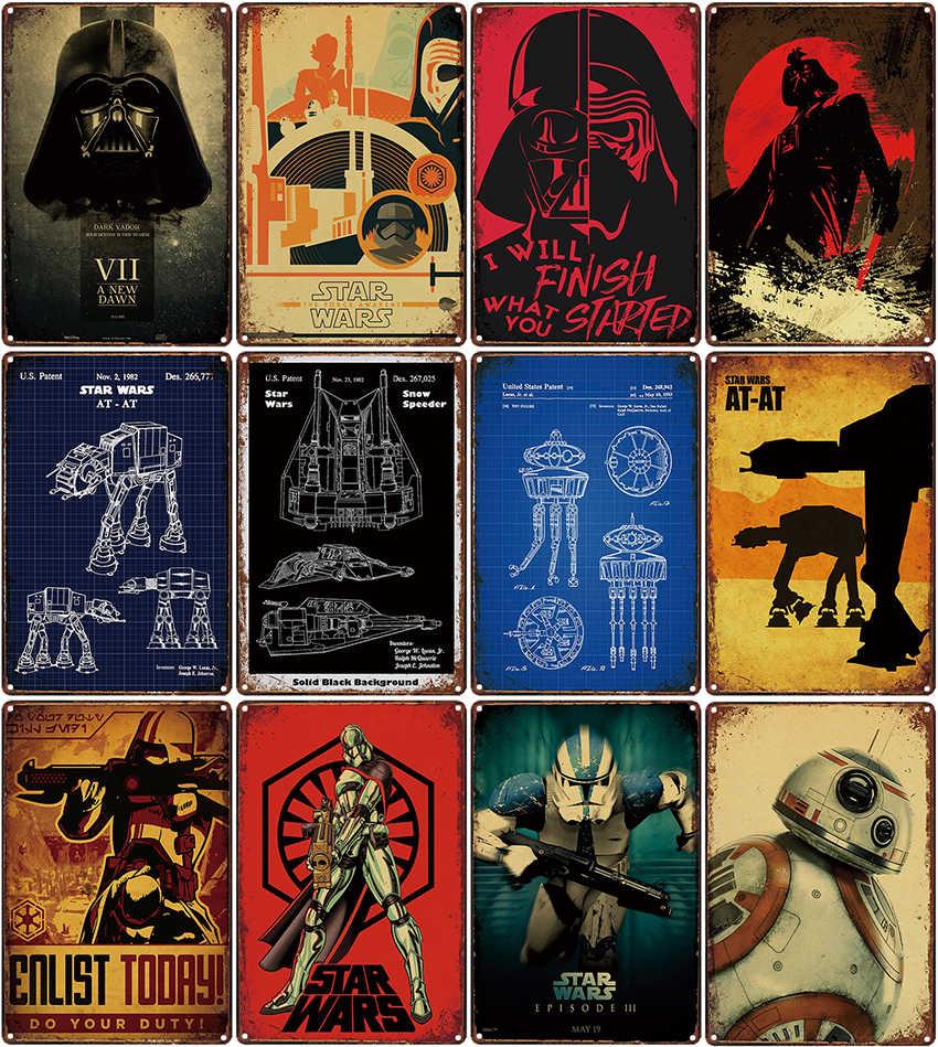 حرب النجوم الحديد اللوحة المرآب بار مقهى معدن القصدير علامات لوحة الحائط ملصقات لويحات الملصقات ديكور المنزل الصالة الرياضية خمر