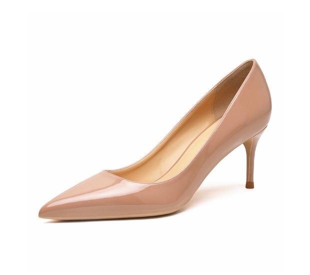 Women Beige Leather High Heel Shoes