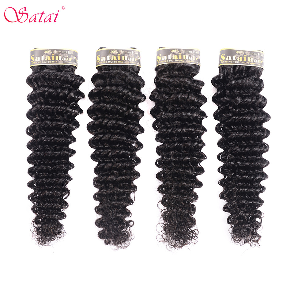 Satai Brazilian Deep Wave  Human Hair Bundles 4 Bundles Deal Non Remy Hair Extension 8-28inch Natural Color No Tangle Can Be Dye