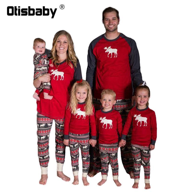 Boutique Vater Mutter Kinder Baby Pyjamas Weihnachten Langarm Nachtwäsche Passenden Familie Outfits Baumwolle Rot Pyjama für Familie