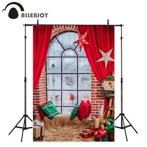 Allenjoy New Year background Christmas indoor brick wall window curtain blanket room decor gift photography backdrop photophone