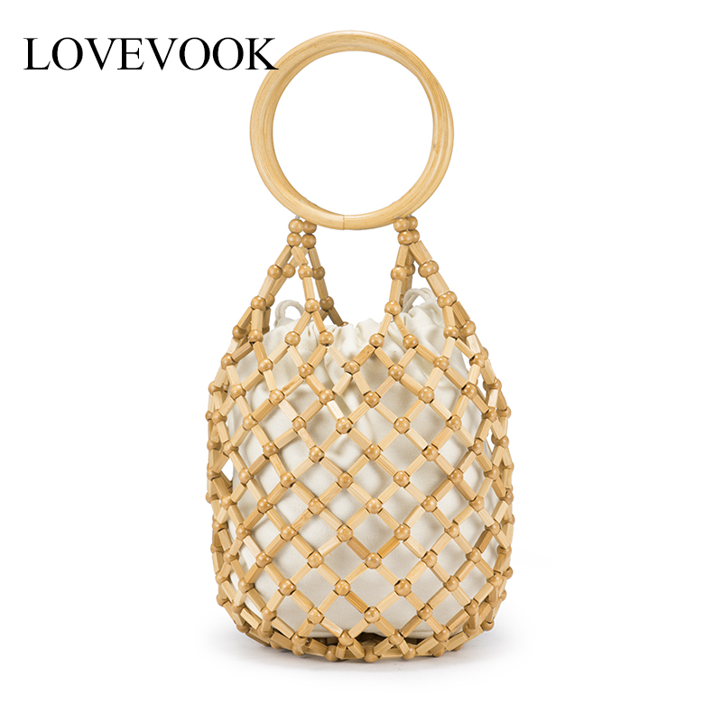 Lovevook Bamboo Bags Female Summer Beach Bags For Travel Handmade Woven Straw Rattan Bag Women Handbags With Top-handle Bohemia