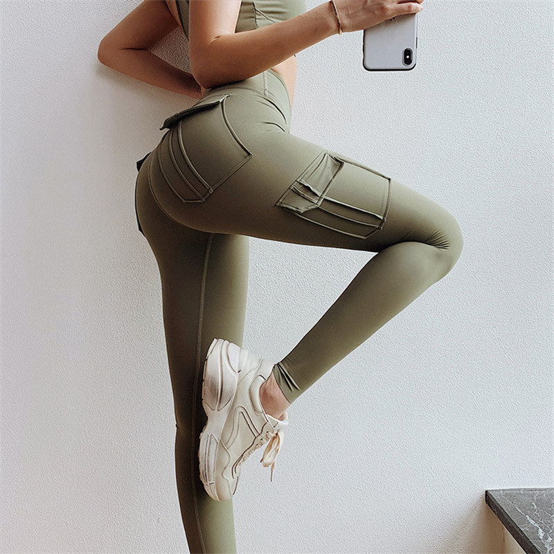 NORMOV Sexy Leggings With Pockets Solid Push Up Fitness Workout Gym Leggings High Waist Skinny Slim Polyester Pants Women