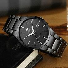 WWOOR Watch Date Stainless-Steel Black Waterproof Top-Brand Luxury Relogios Business
