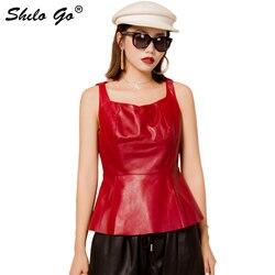 Genuine Leather Vest Vintage Sweatheart Neck Tank Sleeveless Sheepskin Pullover Tops Women Elegant Office Lady A Line Outwear
