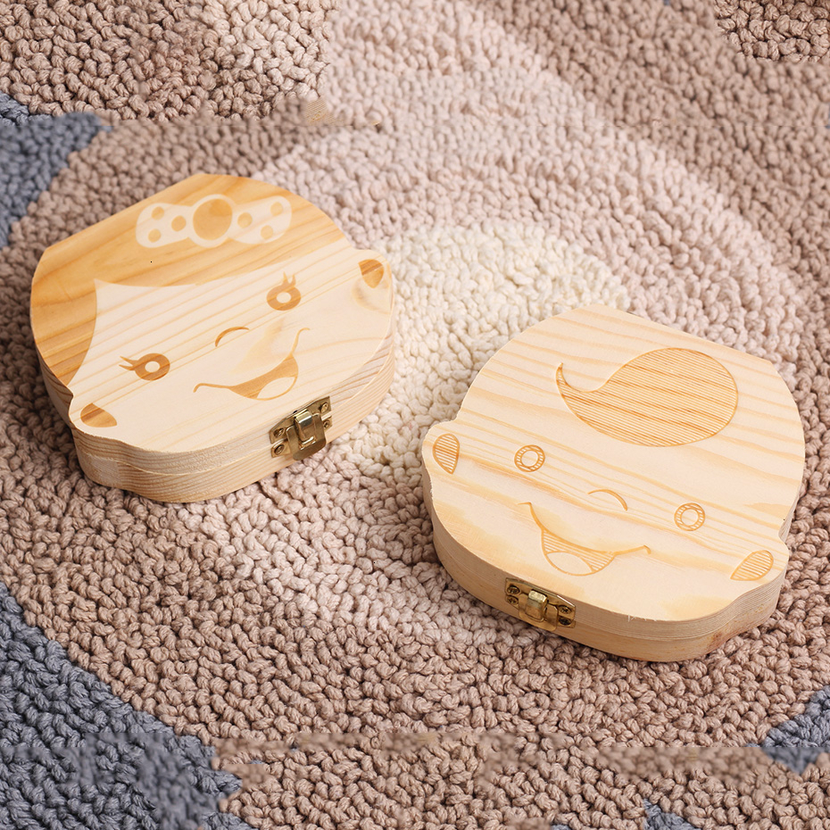 Baby Girl Boy Deciduous Box Creative Gift Save Deciduous Teeth Storage Keepsakes Collecting Wood Tooth Organizer Boxes