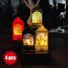 4 pcs/Set Led Hanging Lamp for Christmas Mixed Painted Santa Claus Snowman Elk Lantern Portable Lights Xmas Tree Decor