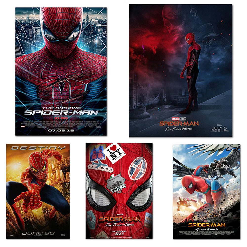 2019 Movie Wall Art Spiderman Silk Art Posters Spider-Man Far From Home Pictures Home Bedroom Boy Room Decor Prints Gift image