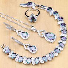 925 Zilveren Sieraden Set Mystic Regenboog Zirkoon Steen Decoratie Voor Vrouwen Bruiloft Oorbellen/Hanger/Open Ring/Armband/Ketting