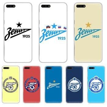 Перейти на Алиэкспресс и купить Футбольный FC Zenit логотип ТПУ Корпус Etui Прозрачный чехол для телефона HUAWEI honor mate 7A 8S 8X 9 9X 10 20 30 pro lite