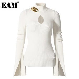 [EAM] Black Hollow Out Knitting Sweater Loose Fit Turtleneck Long Sleeve Women Pullovers New Fashion Autumn Winter 2020 1DC788