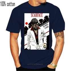 Scarface V2 Movie Poster 1983 T Shirt Dtg White All Sizes S-3Xl Adults Casual Tee Shirt