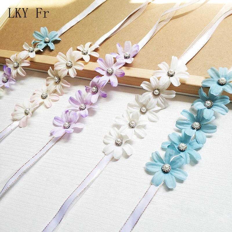 LKY Fr Wrist Corsage Bridesmaid Wedding Bracelet For Brides White Blue Silk Flower Wrist Corsage Bracelet Wedding Accessories