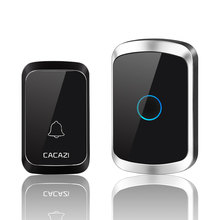 CACAZI Wireless Doorbell Waterproof 300m Range LED Wireless Receiver 58 Melodies