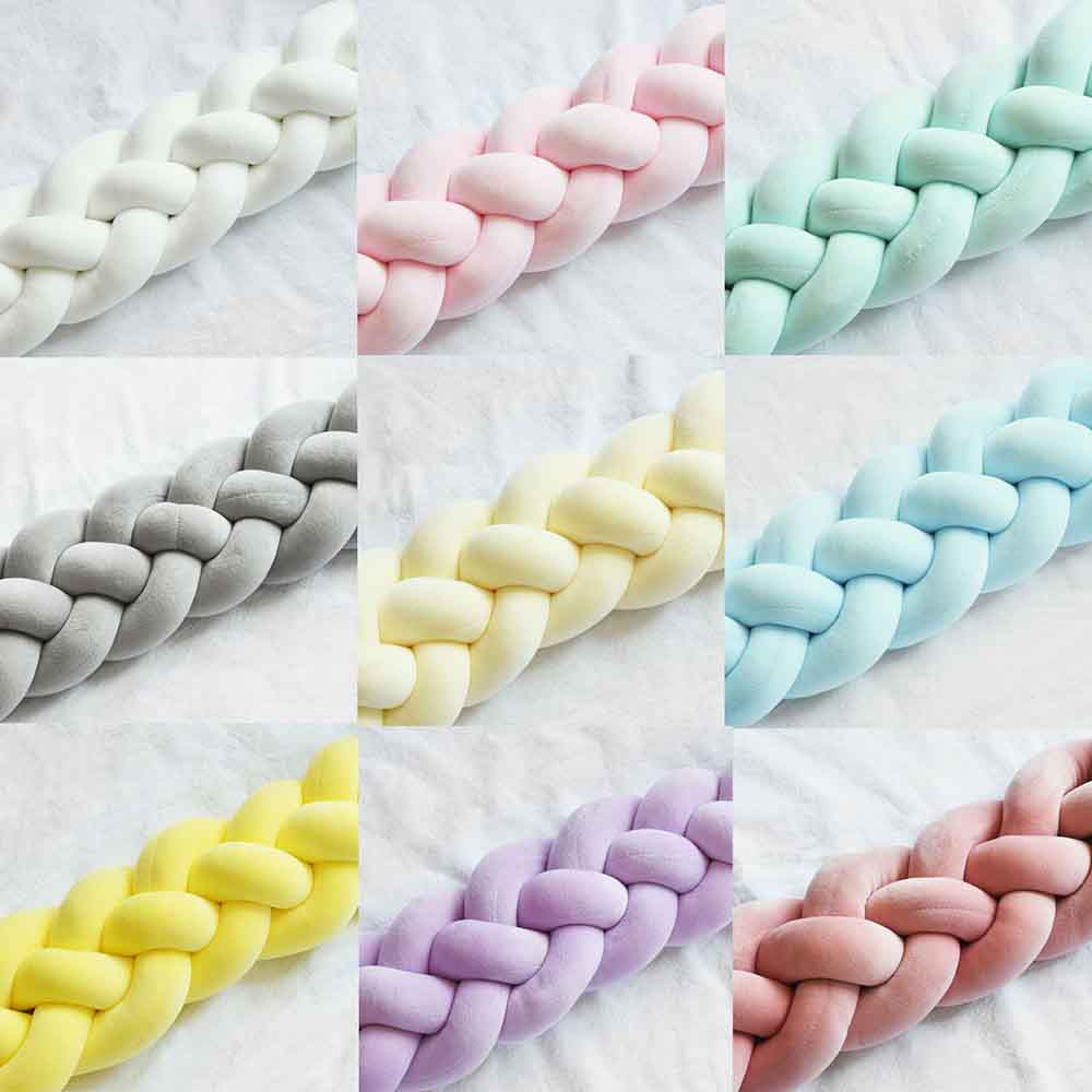 2.2M Baby Handmade Nodic Knot Newborn Bed Bumper Long Knotted Braid Pillow Baby Bed Bumper Knot Crib Infant Room Decor