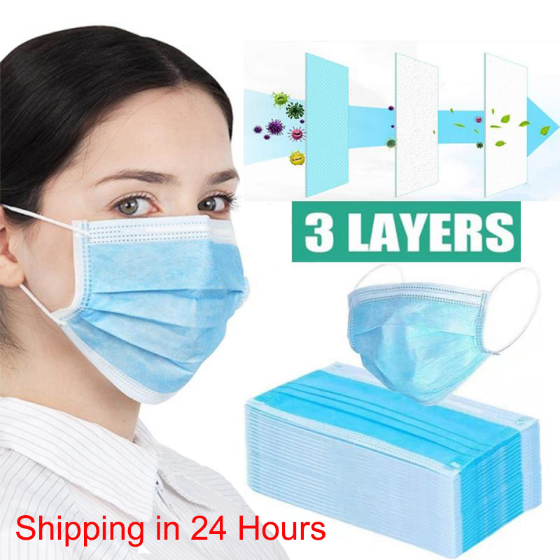 50 Pcs 3-Ply Face Mouth Dust Masks Disposable Protective Mask Anti-COVID-19 Influenza Bacterial Haze Safety Face Anti-Dust Masks