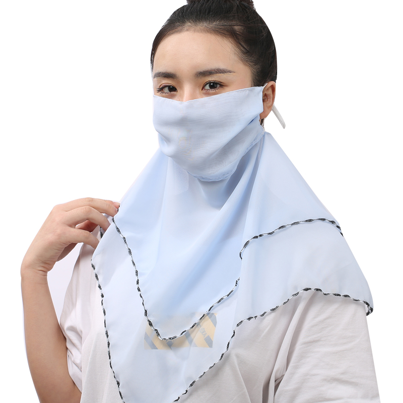 Sunscreen Mask Shawl Two In One Female Breathable Neck Guard Neck Cover Full Face Chiffon Cool Thin Section Large Mask