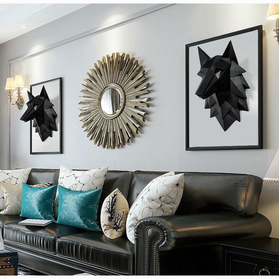 Decoração para casa, lobo 3d, escultura, decoração