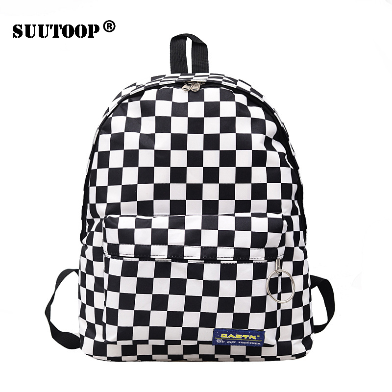 Unisex Plaid Nylon Female Travel Daypack Laptop Backpack Book Schoolbags Feminina School Casual Rucksack Women Bag Rugzak 2019