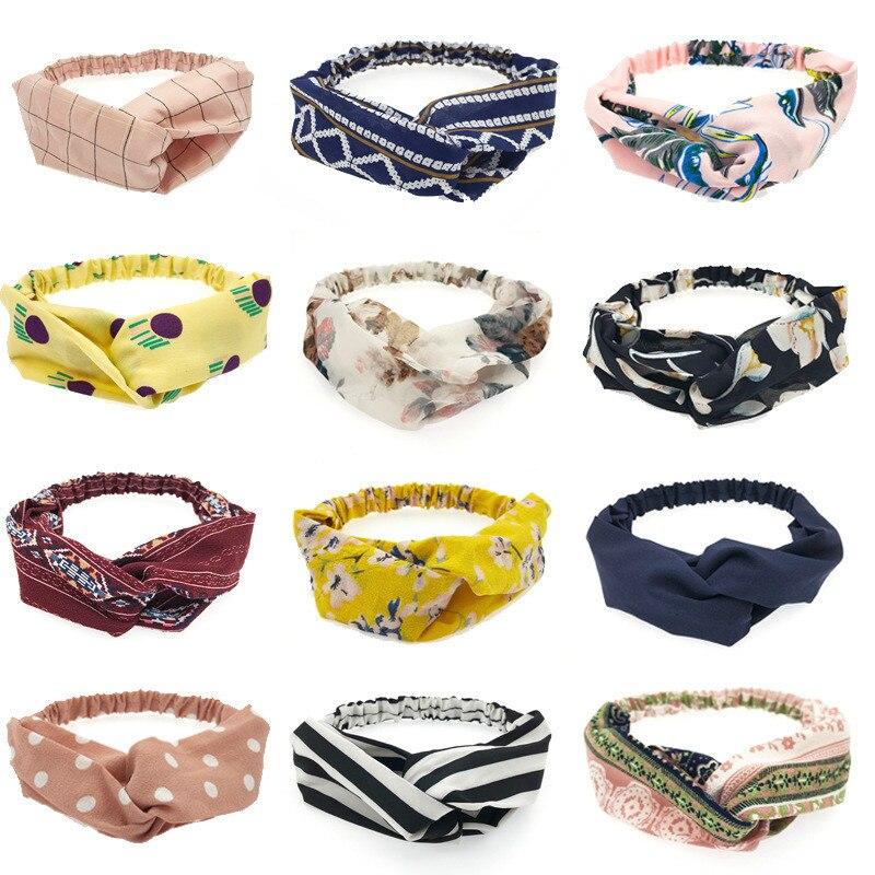 2019 Fashion Strips Knot Headband Turban Elastic Hairband Head Wrap Hair Accessories For Women Girls Striped Headwear Hair Band