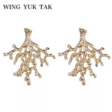 wing yuk tak Fashion Personality Brand Leaf Tree Plant Stud Earrings For Women Gold Color Korean Party Gift Jewelry
