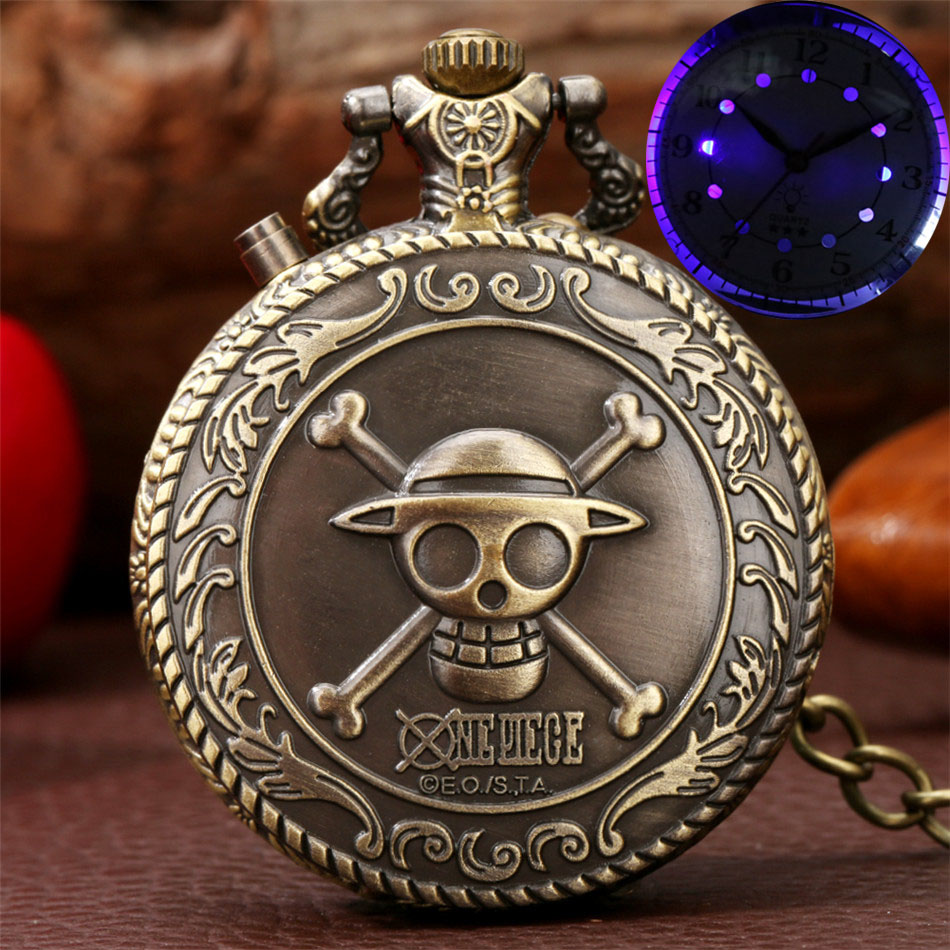 Creative LED Light Display Retro One Piece Skull Theme Pocket Watches Bronze/Silver/Gold Pocket Chain Pendant Clock Gifts