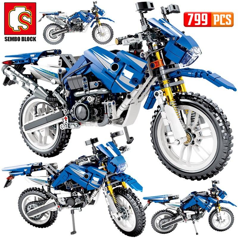 SEMBO New 799PCS City Moto Racing Motorbike Building Blocks Technic Motorcycle Vehicles Bricks Toys Gifts For Children