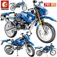 Sembo novo 799 pçs cidade moto corrida blocos de construção técnica veículos da motocicleta tijolos brinquedos presentes para crianças