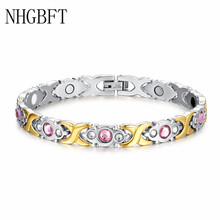NHGBFT Pink Crystal CZ Stainless Steel Bracelet Health Energy Germanium Magnetic Bracelets Bangles stainless steel hologram bracelet germanium balance energy care magnetic power health bracelets bangles
